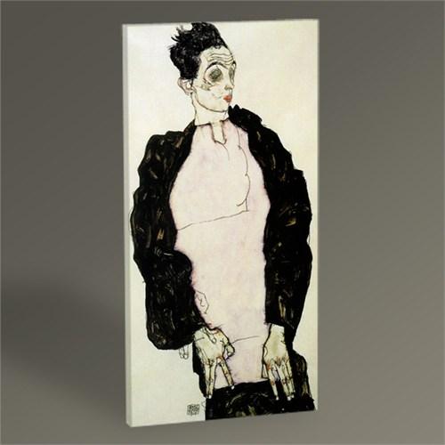 Tablo 360 Egon Schiele Selbstbildnis İn Lila Hemd 100X50