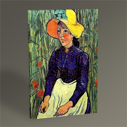 Tablo 360 Vincent Van Gogh-Young Peasant Woman With Straw Hat Sitting İn The Wheat 45X30
