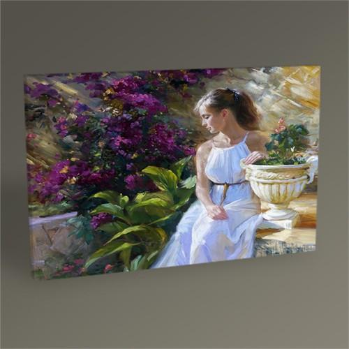 Tablo 360 Beyaz Elbiseli Kadın Tablo 45X30