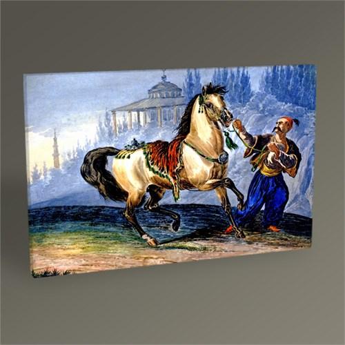 Tablo 360 Atı Sürükleyen Fes Giymiş Türk Tablo 45X30