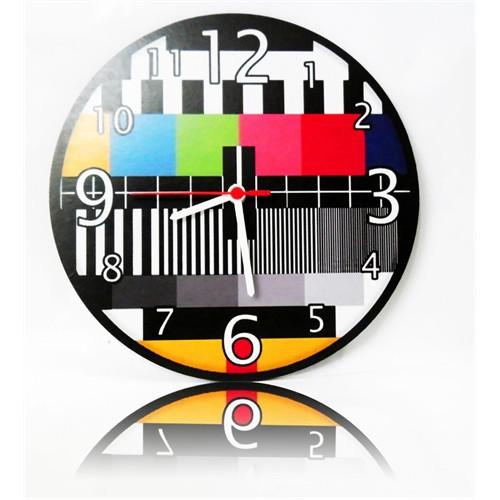 Köstebek Tv No Signal Ahşap Duvar Saati