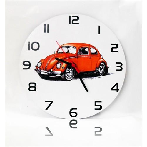 Köstebek Volkswagen Beetle Ahşap Duvar Saati