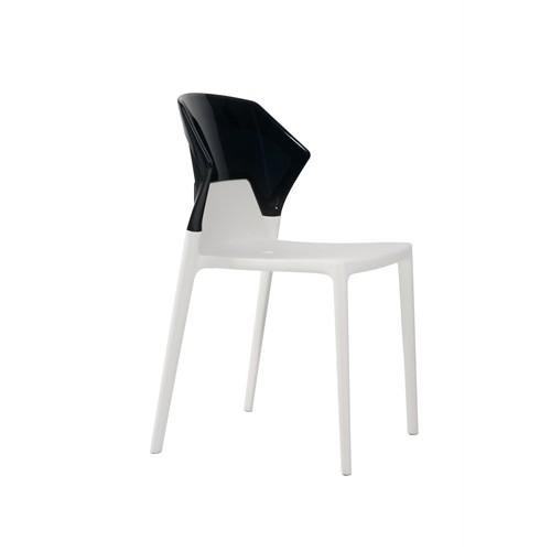 Papatya Ego Sandalye Siyah Beyaz Solid Model