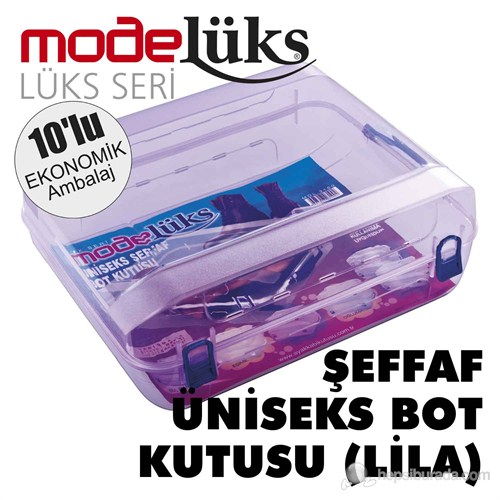 Modelüx Şeffaf Bot Kutusu Lila 10 lu Paket