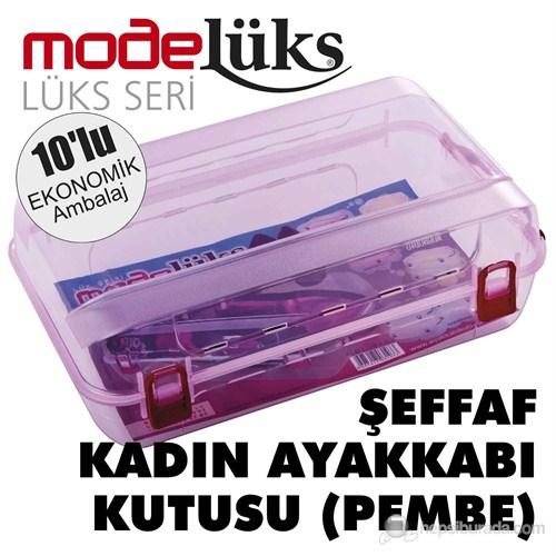 Modelüx Şeffaf Pembe Bayan Ayakkabı Kutusu 10'lu Paket