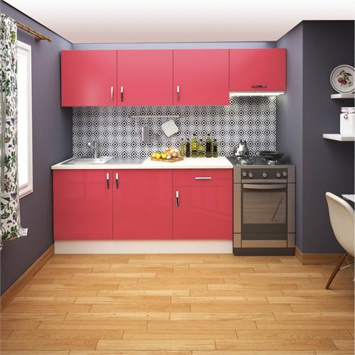 FLY Sofya 240 Cm Kırmızı Hıghgloss Kapaklı Mutfak Dolabı FLY180282