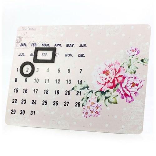 Metal Çiçek Desenli Magnetli Takvim