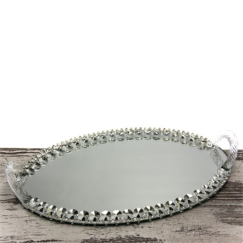Mukko Home Aynalı Söz Nişan Tepsisi Gümüş 35 X 22 Cm