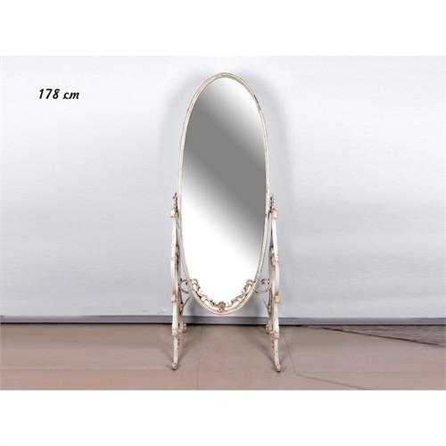 Lucky Art Krem Metal Boy Aynası - 178 Cm