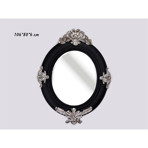 Lucky Art Gümüş İşlemeli Siyah Ayna - Sq 045