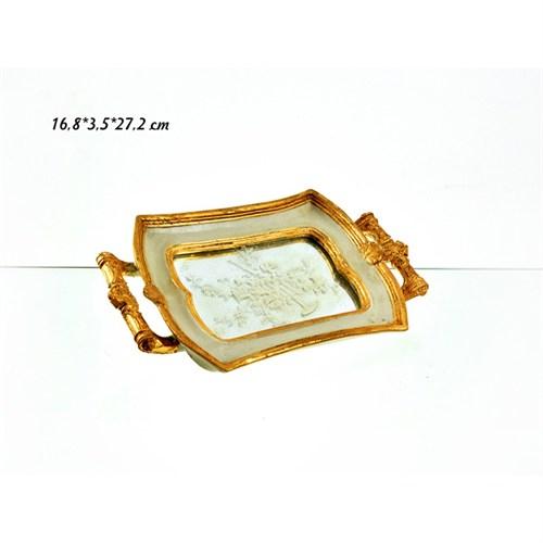 Lucky Art Krem Altın Dikdörtgen Tepsi - 27 Cm