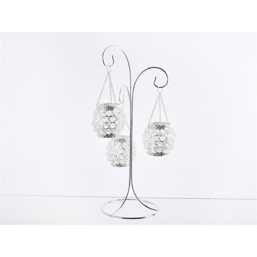 Lucky Art Gümüş Kristalli Şamdan - Me022