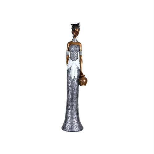 Lucky Art Gümüş Afrikalı Bayan Biblo - 93 Cm