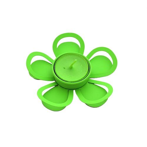 Gold Dekor Tealigt Mumluk Metal Çiçek Yeşil