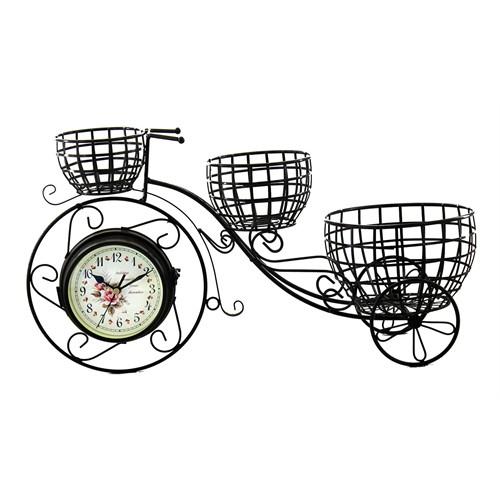 Gold Dekor Ferforje 3 Sepetli Bisiklet Saat Koyu Kahve