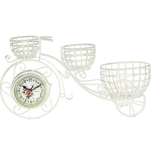 Gold Dekor Ferforje 3 Sepetli Bisiklet Saat Beyaz