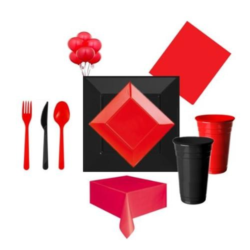 Siyah Kırmızı Parti Seti