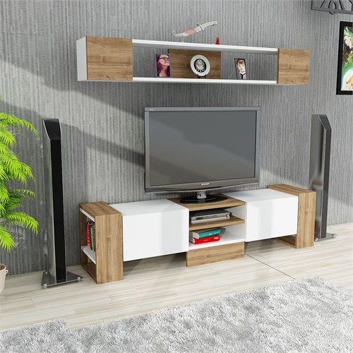 Dekorister Sindi Tv Ünitesi Beyaz-Ceviz
