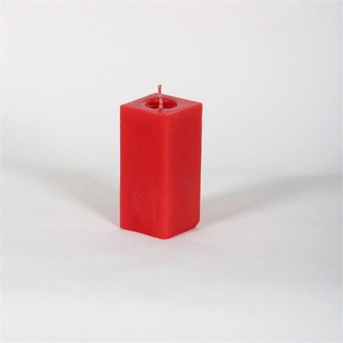 Kırmızı Kare 10 Cm Kokusuz Mum