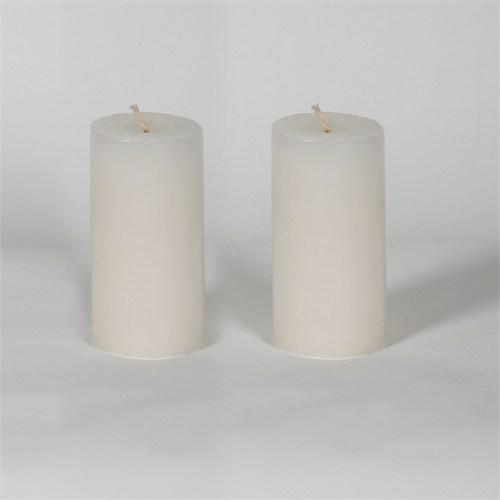 Beyaz 5*10 Cm Yasemin Kokulu 2'Li Silindir Mum