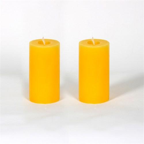 Sarı 5*10 Cm Papatya Kokulu 2'Li Silindir Mum