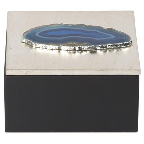 Altıncı Cadde Mavi Taşlı Kare Ahşap Dekoratif Kutu S 12X12 Cm