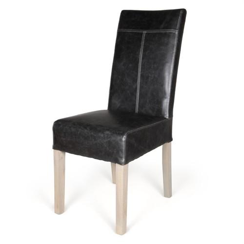 Altıncı Cadde Siyah Deri Sandalye