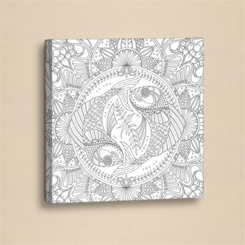 Dekorjinal Mandala Boyama Deri Tablo Boy062