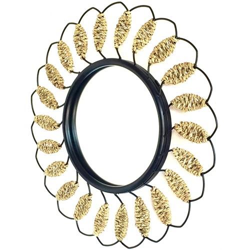Alldeco Ferforje & Su Sümbülü Detaylı Yuvarlak Ayna 50 Cm