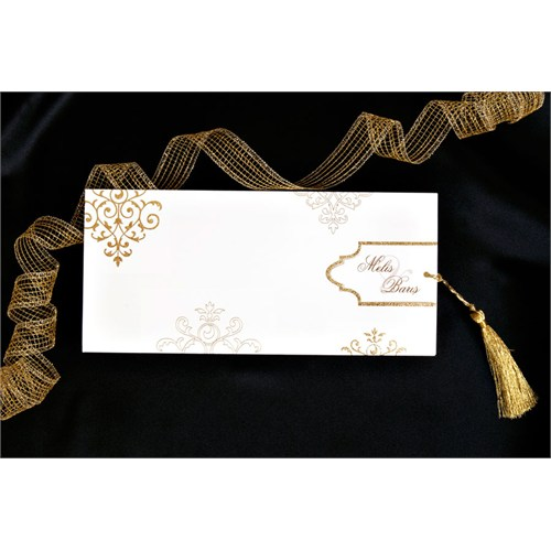 Yaldızlı Motiflerle Süslü Şık Düğün Davetiye 100 Adet Zarfsız