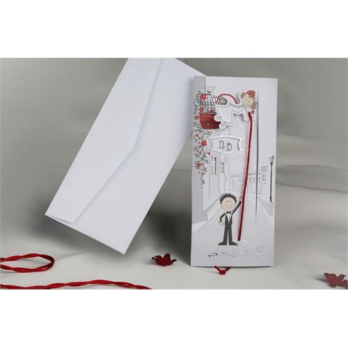 Karikatürlü Çekmeli İlginç Düğün Davetiye 100 Adet Zarflı