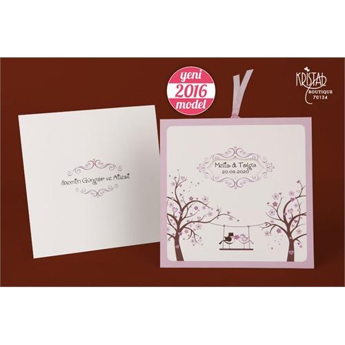 Çekmeli Kurdelalı Çiçek Motifli Düğün Davetiye 100 Adet Zarfsız