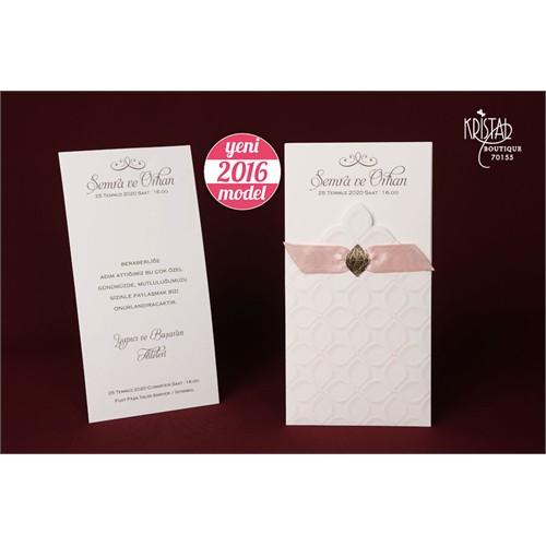 Kurdelalı Yaldızlı Düğün Davetiye 100 Adet Zarfsız