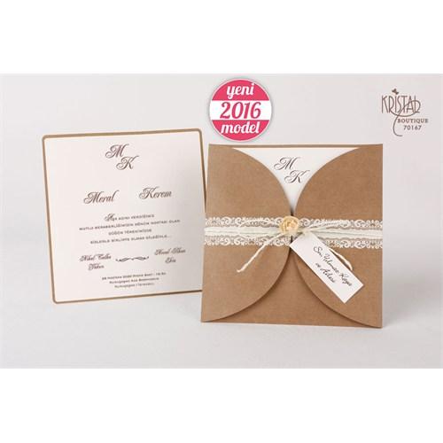 Çiçek Aksesuarlı Hasır İpli Düğün Davetiye 100 Adet Zarflı