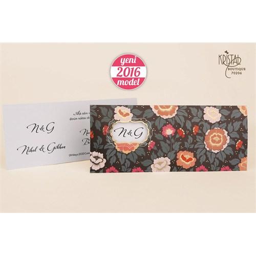 Çiçek Figürleriyle Süslü Sade Ve Şık Düğün Davetiye 100 Adet Zarfsız