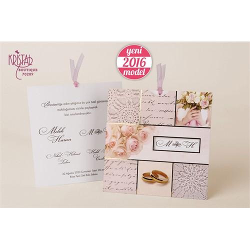 Gelin Çiçekleriyle Süslü Kurdelalı Düğün Davetiye 100 Adet Zarfsız