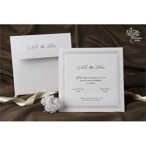 Sade Tasarımlı Şık Düğün Davetiye 100 Adet Zarflı