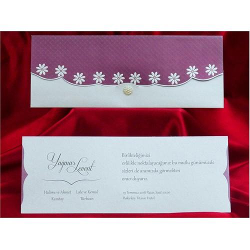 Çiçekli Düğün Davetiye 100 Adet Zarfsız