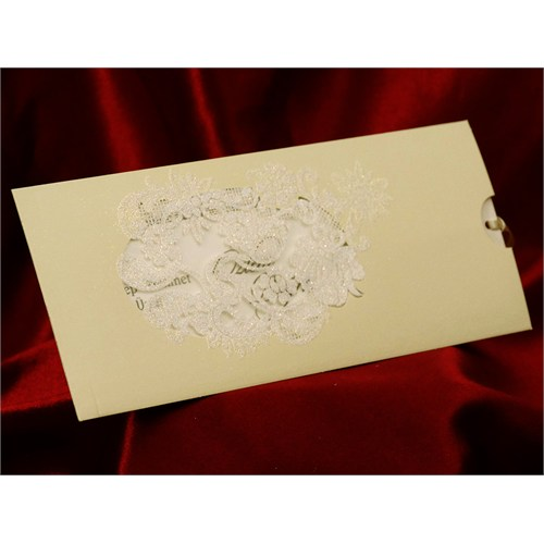 Simli Çekmeli Düğün Davetiye 100 Adet Zarfsız