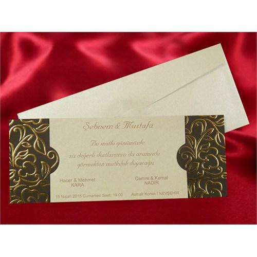 Sade Düğün Davetiye 100 Adet Zarflı