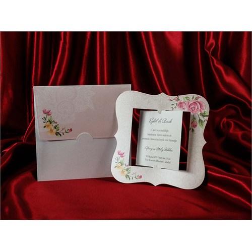 Çerçeve Modelli Düğün Davetiye 100 Adet Zarflı