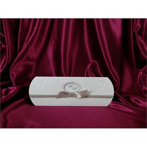 Kurdelalı İncili Düğün Davetiye 100 Adet Zarfsız