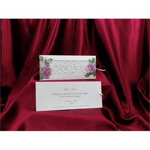 Çiçekli Simli Düğün Davetiye 100 Adet Zarfsız
