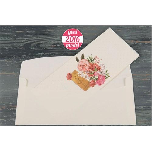 Retro Çiçekler Düğün Davetiye 100 Adet Zarflı
