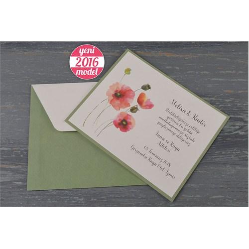 Yağlı Boya Çiçek Resimli Retro Düğün Davetiye 100 Adet Zarflı