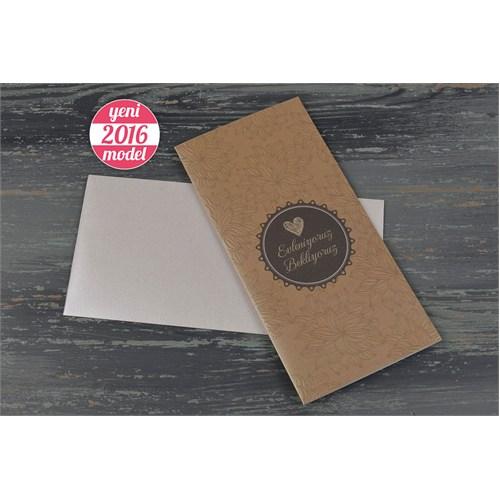 Kabartma Yaprak Desenli Özel Kağıda Baskılı Davetiye 100 Adet Zarflı