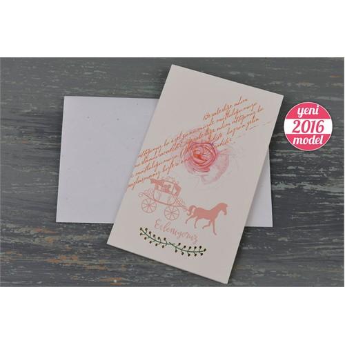 At Arabası Ve Çiçek Figürlü Ucuz Düğün Davetiye 100 Adet Zarflı
