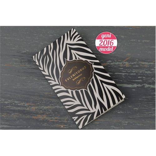 Zebra Desenli Ucuz Düğün Davetiye 100 Adet Zarflı