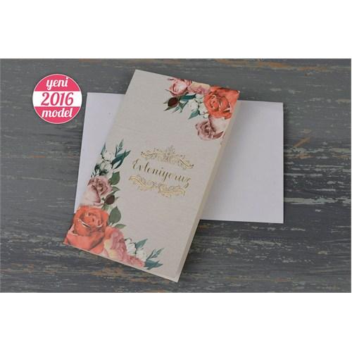 Bahar Çiçekleriyle Süslü Ucuz Nikah Davetiye 100 Adet Zarflı
