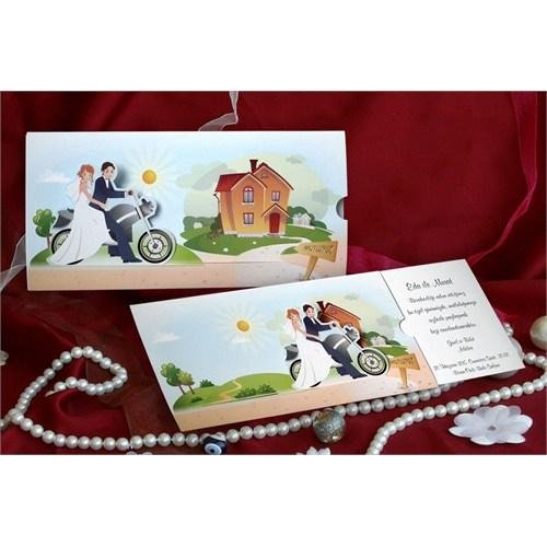 Motosiklet Düğün Davetiye 100 Adet Zarflı